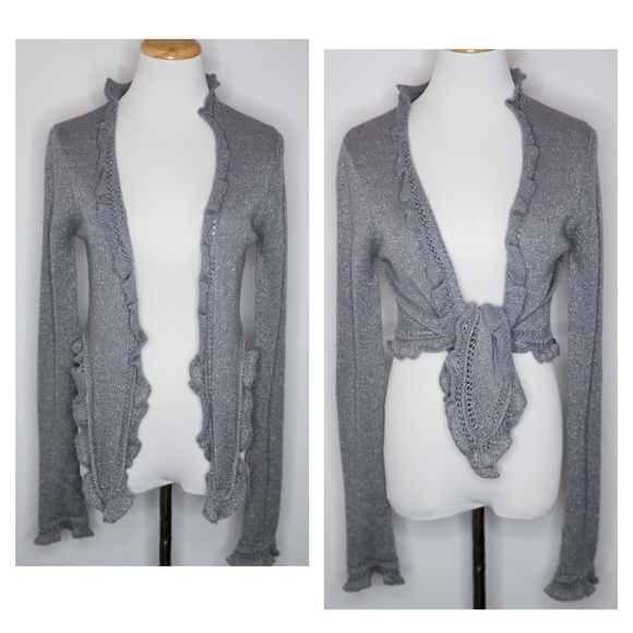 Juicy Couture Sweaters - Juicy Couture Gray/Blue Metallic Ruffled Edge Wrap